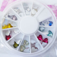 Nail Art Wheel with 12 Colours and 3D Heart Designs in Various Styles UK SELLER