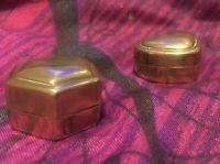 Vintage Small Brass Pill Snuff Heart & Hexagon Trinket Box