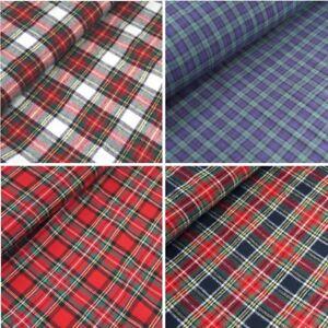 100% Brushed Cotton Fabric Tartan Wincyette Flannel Royal Stewart Black Watch