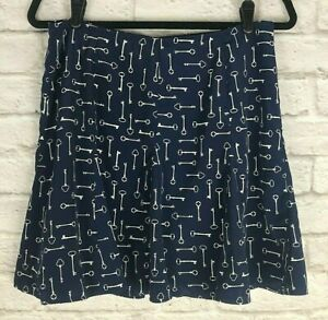 Banana Republic Nay Blue Skeleton Key Print Skirt Size 8