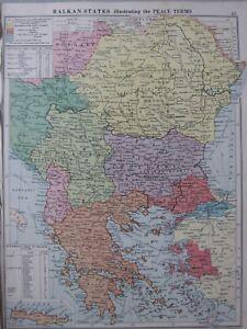 1930 MAP ~ BALKAN STATES PEACE TERMS BULGARIA GREECE RUMANIA TRAIN DISTANCES