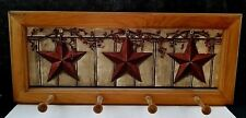 2 Wall Mount Clothes Racks Wooden W / Pegs Stars Country Farmhouse