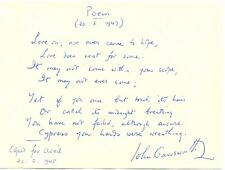 John Gawsworth original handwritten signed poem English writer/poet autograph
