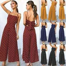 UK Women Boho Polka Dot Strappy Jumpsuit Ladies Holiday Wide Leg Playsuit Romper