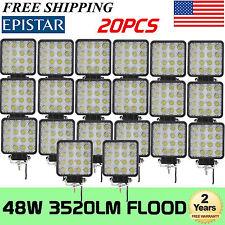 20Pcs 48W Flood LED Work Light Bar 3D Len Driving DRL SUV 4WD Boat Truck Offroad