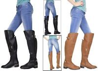 Long Over Knee Boots High Buckle Detail Flat Block Heel Shoes UK Womens Ladies
