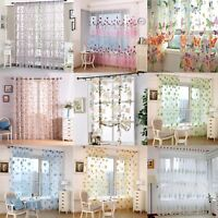Window Curtain Floral Tulle Voile Drape Panel Sheer Scarf Valances Curtain UK