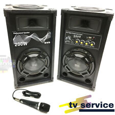 Casse Amplificate Karaoke 200 Watt Bluetooth con Microfono Professionale