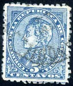 1886 COLOMBIA  5c STAMP SIMON BOLIVARD SC#130 Blue on Grey Variant USED
