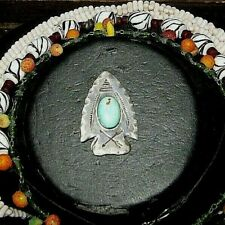 Navajo Arrowhead Stampings Sterling Silver Turquoise Pin C Clasp EARLY PAWN