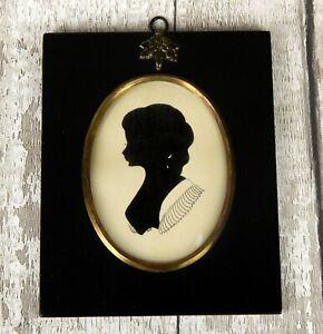 Vintage Antique Silhouette Portrait Georgian Lady Miniature Ebonised Frame 2