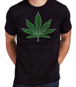 "Unisex / Men's Rhinestone "" Marijuana, Cannabis Weed Leaf "" T-Shirt"