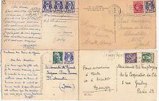 Lot 4 cartes postales timbrées timbres libération 1944 croix de lorraine 2