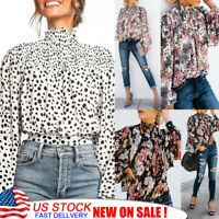 US Womens Ruffle Frill Shirt Tops High Neck Long Sleeve Polka Dot T-Shirt Blouse