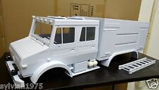 1/10 6X6 Mercedes-Benz Unimog Double Cab Scale FIRE TRUCK Plastic Body UNPAINTED