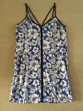 NEW MISS SELFRIDGE BLUE AND PINK FLORAL STRAPPY DRESS SIZE 16