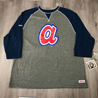 Stitches Atlanta Braves Cooperstown Classics Mens T-Shirt 3/4 Sleeve Size XL NWT