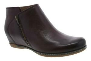 Dansko Leyla Wine Burnished Leather Ankle Boot - NEW -  Size EU 42