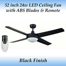 Rotor 52 inch LED Ceiling Fan in Black with Light with ABS Blades and Remote