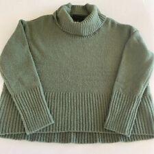 Rachel Zoe Womens Crop Sweater Sage Green Long Sleeve Turtleneck Pullover  L New