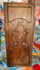 Ancien Panneau bois sculpté bouquet de roses dans le style art nouveau vintage