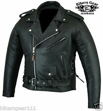 NEW MENS BIG N TALL BRANDO GENUINE A GRADE LEATHER MOTORCYCLE JACKET 8XL