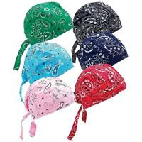 New 6pc Assorted Paisley Cotton Skull Caps Hat Doo Rag Biker Bandana Head Wrap