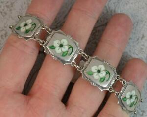 """Vintage Solid Silver and Enamel Floral Design Bracelet 7"""""""
