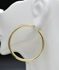 10k Solid Yellow Gold Large Plain Round hoop Earrings. 1 1/2'' 40mm x3MM 2.5GR