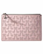 Fossil RFID Large Perforated Pouch Powder Pink Genuine Leather Zip Clutch Wallet
