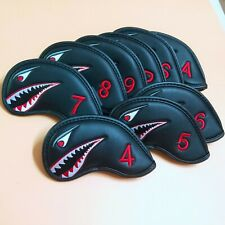 9/set Shark Golf Iron Headcovers Covers for Titleist Taylormade Callaway