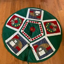 Christmas Tree Skirt Patchwork Primitive Country Barn Wreath Quilted 50""