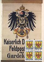 AK: Posthausschild der Kaiserlich Deutschen Feldpost, 1914-1918 mit Briefmarken