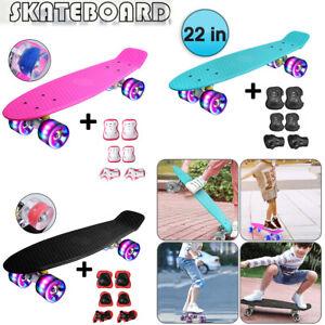 "Monopatin Completo Mini Cruiser Skateboard 22"" Retro Skateboard para Niños LED"