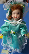 7 INCH PORCELAIN DOLL WITH STAND RED HAIR BLUE DRESS LACE VICTORIAN STYLE NEW