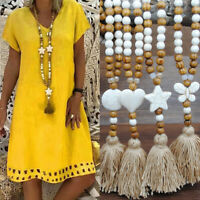 Boho Women's Wooden Bead Long Necklace Pendant Round Tassel Sweater Chain Gift