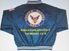 "USS HELENA  CA-75  NAVY ANCHOR "" EMBROIDERED 2-SIDED SATIN JACKET"