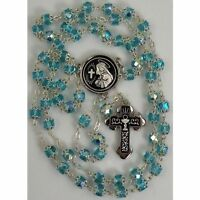 Damascene Silver Rosary Cross Virgin Mary Teal Beads by Midas of Toledo Spain