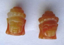 2 Carnelian Beads , Carved Buddha Heads