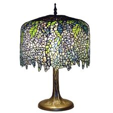 Table Lamps Tiffany Wisteria Bronze Tree Trunk Base Mission Stained Glass 27 in.