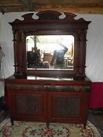Solid Carved Oak Dresser Sideboard 2 Cupboard & 2 Drawer With Mirror c1900