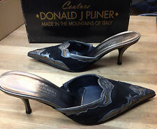 Donald J Pliner Women's Rion Black/Charcoal Suede/Antique Metallic Size 7.5 M