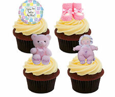 Baby Shower Twin Chicas comestibles Cup Cake toppers, decoración de stand-up Hada Rosa