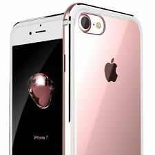 iPhone 7/ 8 Plus Clear Case Hard Plastic Back Aluminum Metallic Bumper Cover AU for iPhone 7 Rose Gold
