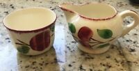 Southern Potteries Blue Ridge Red Apple Open Cream and Sugar Set