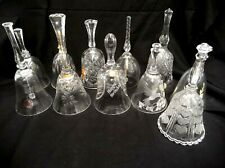 Mixed Lot Of 11 Glass Bells Some Marked Lead Crystal Gold Plated Flowers Hearts