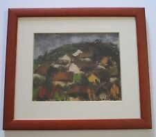MYSTERY ARTIST SIGNED ABSTRACT EXPRESSIONISM LANDSCAPE PAINTING HILLSIDE VNTG