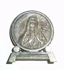 St Therese Of Lisieux Metal Medallion On Stand 5 Cms X 6 Cms
