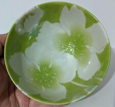 Beautiful Handmade Japanese Rice Bowl - Green & White Flowers - Ceramic Pottery