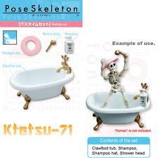Re-ment Pose Skeleton Bath time set Clawfoot tub Miniatures Figures Accessories